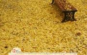 12月月历 银杏叶桌面壁纸 YAHOO韩国十二月月历壁纸 月历壁纸